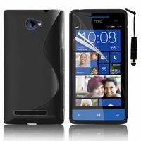 HTC Windows Phone 8S: Accessoire Housse Etui Pochette Coque S silicone gel + mini Stylet - NOIR