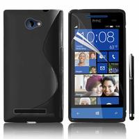 HTC Windows Phone 8S: Accessoire Housse Etui Pochette Coque S silicone gel + Stylet - NOIR