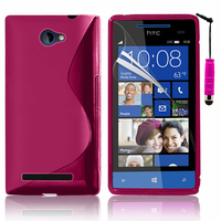 HTC Windows Phone 8S: Accessoire Housse Etui Pochette Coque S silicone gel + mini Stylet - ROSE