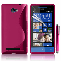 HTC Windows Phone 8S: Accessoire Housse Etui Pochette Coque S silicone gel + Stylet - ROSE