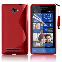 HTC Windows Phone 8S: Accessoire Housse Etui Pochette Coque S silicone gel + mini Stylet - ROUGE