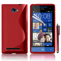 HTC Windows Phone 8S: Accessoire Housse Etui Pochette Coque S silicone gel + Stylet - ROUGE