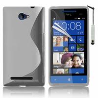 HTC Windows Phone 8S: Accessoire Housse Etui Pochette Coque S silicone gel + mini Stylet - TRANSPARENT