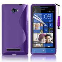 HTC Windows Phone 8S: Accessoire Housse Etui Pochette Coque S silicone gel + mini Stylet - VIOLET
