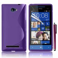 HTC Windows Phone 8S: Accessoire Housse Etui Pochette Coque S silicone gel + Stylet - VIOLET