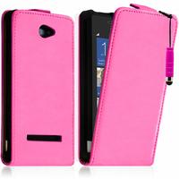 HTC Windows Phone 8S: Accessoire Housse coque etui cuir fine slim + mini Stylet - ROSE