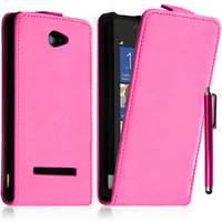 HTC Windows Phone 8S: Accessoire Housse coque etui cuir fine slim + Stylet - ROSE