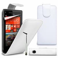 HTC Windows Phone 8X: Accessoire Etui Housse Coque Pochette simili cuir + mini Stylet - BLANC