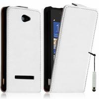 HTC Windows Phone 8X: Accessoire Housse coque etui cuir fine slim + mini Stylet - BLANC