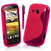 HTC Desire C A320E/ G7C: Accessoire Housse Etui Pochette Coque S silicone gel + Stylet - ROSE