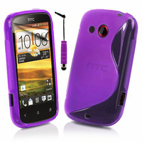HTC Desire C A320E/ G7C: Accessoire Housse Etui Pochette Coque S silicone gel + mini Stylet - VIOLET
