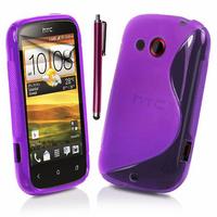 HTC Desire C A320E/ G7C: Accessoire Housse Etui Pochette Coque S silicone gel + Stylet - VIOLET