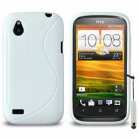 HTC Desire X T328E/ G7X: Accessoire Housse Etui Pochette Coque S silicone gel + mini Stylet - BLANC