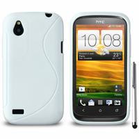 HTC Desire X T328E/ G7X: Accessoire Housse Etui Pochette Coque S silicone gel + Stylet - BLANC