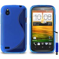 HTC Desire X T328E/ G7X: Accessoire Housse Etui Pochette Coque S silicone gel + mini Stylet - BLEU
