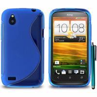 HTC Desire X T328E/ G7X: Accessoire Housse Etui Pochette Coque S silicone gel + Stylet - BLEU
