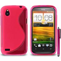 HTC Desire X T328E/ G7X: Accessoire Housse Etui Pochette Coque S silicone gel + Stylet - ROSE