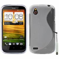 HTC Desire X T328E/ G7X: Accessoire Housse Etui Pochette Coque S silicone gel + mini Stylet - TRANSPARENT