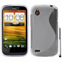HTC Desire X T328E/ G7X: Accessoire Housse Etui Pochette Coque S silicone gel + Stylet - TRANSPARENT