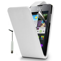 Huawei Ascend Y300: Accessoire Etui Housse Coque Pochette simili cuir + mini Stylet - BLANC