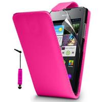 Huawei Ascend Y300: Accessoire Etui Housse Coque Pochette simili cuir + mini Stylet - ROSE