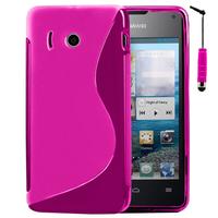 Huawei Ascend Y300: Accessoire Housse Etui Pochette Coque S silicone gel + mini Stylet - ROSE