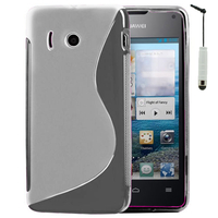 Huawei Ascend Y300: Accessoire Housse Etui Pochette Coque S silicone gel + mini Stylet - TRANSPARENT