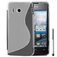Huawei Ascend Y300: Accessoire Housse Etui Pochette Coque S silicone gel + Stylet - TRANSPARENT