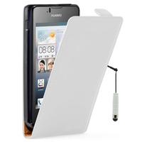 Huawei Ascend Y300: Accessoire Housse coque etui cuir fine slim + mini Stylet - BLANC