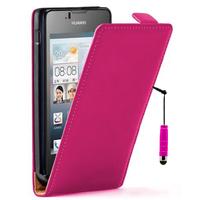Huawei Ascend Y300: Accessoire Housse coque etui cuir fine slim + mini Stylet - ROSE