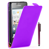 Huawei Ascend Y300: Accessoire Housse coque etui cuir fine slim + Stylet - VIOLET