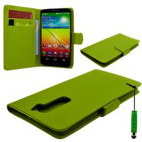 LG G2 D802/ D803/ VS980: Accessoire Etui portefeuille Livre Housse Coque Pochette cuir PU + mini Stylet - VERT