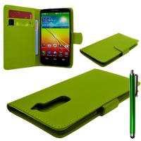 LG G2 D802/ D803/ VS980: Accessoire Etui portefeuille Livre Housse Coque Pochette cuir PU + Stylet - VERT