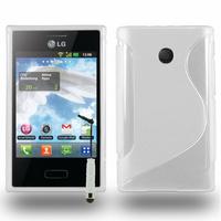 LG Optimus L3 E400: Accessoire Housse Etui Pochette Coque S silicone gel + mini Stylet - BLANC