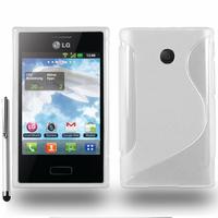 LG Optimus L3 E400: Accessoire Housse Etui Pochette Coque S silicone gel + Stylet - BLANC