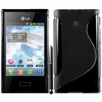 LG Optimus L3 E400: Accessoire Housse Etui Pochette Coque S silicone gel + Stylet - NOIR