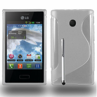 LG Optimus L3 E400: Accessoire Housse Etui Pochette Coque S silicone gel + Stylet - TRANSPARENT