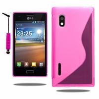 LG Optimus L5 E610/ E612/ E615 Dual Sim: Accessoire Housse Etui Pochette Coque S silicone gel + mini Stylet - ROSE