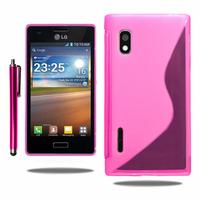 LG Optimus L5 E610/ E612/ E615 Dual Sim: Accessoire Housse Etui Pochette Coque S silicone gel + Stylet - ROSE