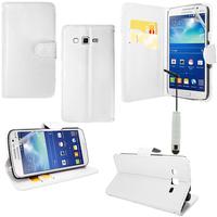 Samsung Galaxy Core Plus G3500/ Trend 3 G3502: Accessoire Etui portefeuille Livre Housse Coque Pochette support vidéo cuir PU + mini Stylet - BLANC