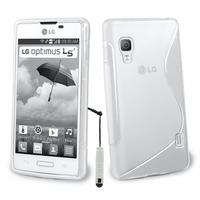 LG Optimus L5 II E460 (non compatible LG L5 II E455 Dual Sim): Accessoire Housse Etui Pochette Coque S silicone gel + mini Stylet - BLANC