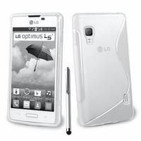LG Optimus L5 II E460 (non compatible LG L5 II E455 Dual Sim): Accessoire Housse Etui Pochette Coque S silicone gel + Stylet - BLANC