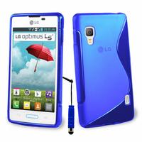 LG Optimus L5 II E460 (non compatible LG L5 II E455 Dual Sim): Accessoire Housse Etui Pochette Coque S silicone gel + mini Stylet - BLEU
