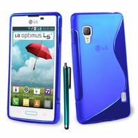 LG Optimus L5 II E460 (non compatible LG L5 II E455 Dual Sim): Accessoire Housse Etui Pochette Coque S silicone gel + Stylet - BLEU