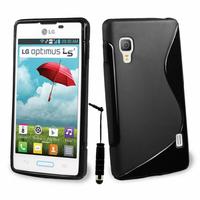LG Optimus L5 II E460 (non compatible LG L5 II E455 Dual Sim): Accessoire Housse Etui Pochette Coque S silicone gel + mini Stylet - NOIR