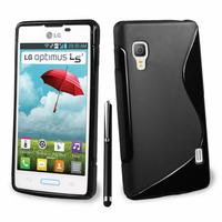LG Optimus L5 II E460 (non compatible LG L5 II E455 Dual Sim): Accessoire Housse Etui Pochette Coque S silicone gel + Stylet - NOIR