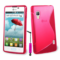 LG Optimus L5 II E460 (non compatible LG L5 II E455 Dual Sim): Accessoire Housse Etui Pochette Coque S silicone gel + mini Stylet - ROSE