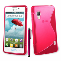 LG Optimus L5 II E460 (non compatible LG L5 II E455 Dual Sim): Accessoire Housse Etui Pochette Coque S silicone gel + Stylet - ROSE