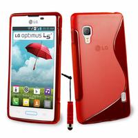 LG Optimus L5 II E460 (non compatible LG L5 II E455 Dual Sim): Accessoire Housse Etui Pochette Coque S silicone gel + mini Stylet - ROUGE