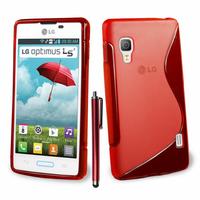 LG Optimus L5 II E460 (non compatible LG L5 II E455 Dual Sim): Accessoire Housse Etui Pochette Coque S silicone gel + Stylet - ROUGE